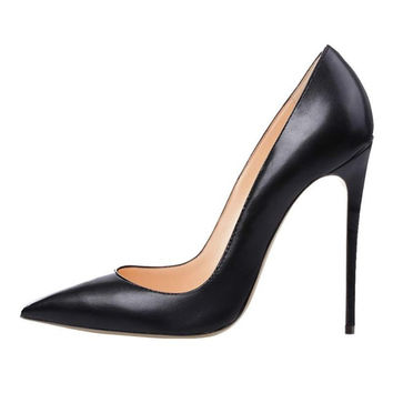 Brand Women Pumps Shoes Woman High Heels Pumps Stilettos Shoes For Women Black High Heels 12CM PU Leather Wedding Shoes B-0051