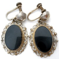 Art Deco Sterling Silver Black Onyx Earrings