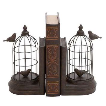 A Pair of Metal and Poly Stone Bird Cage Bookend