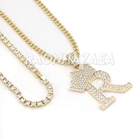Iced Out Crown R Initial Pendant Necklace Set