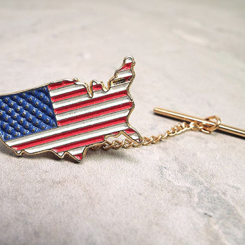 USA Tie Tack, United States, Vintage Tie Tack, Patriotic Jewelry, Red White and Blue, Stars and Stripes, Flag Country Shape, Lapel Pin