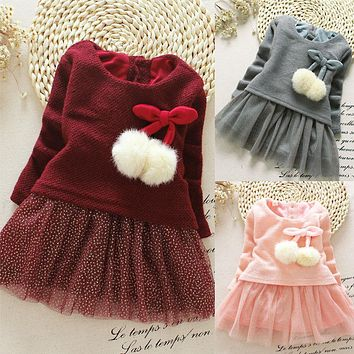 Summer Brief Long Sleeve New Toddler Baby Kids Girls Clothing Dresses Spring Knitted Bow Newborn Tutu Princess Dress 3 6 12 24M