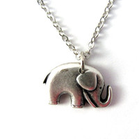 Elephant Necklace Charm Repurposed Button Pendant Eco Friendly Animal Jewelry by Hendywood