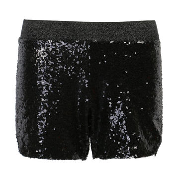 Black Sequined Split Side Shorts