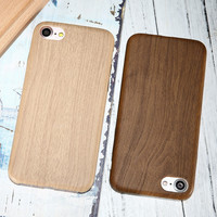 Vintage Wood PU Leather Back Cover Cases For Iphone 7 7Plus 6 Plus Wooden Bamboo Pattern Phone Cases For Iphone7 Plus 6S Iphone5