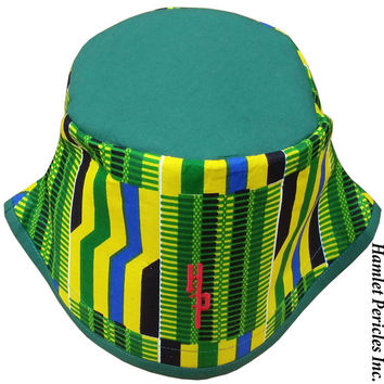African Kente Green-top Bucket Hat | Kente Hat | African Hat | Kente Cloth | Green Yellow Hat | Stripe Hat | Africanwear by Hamlet Pericles