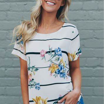 Striped & Floral Print Top Ivory