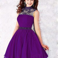 [92.99] Stunning Tulle High Collar Neckline A-line Homecoming Dresses With Beadings & Rhinestones - dressilyme.com