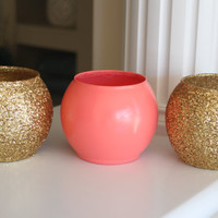 Coral and Gold Vase, Coral and Gold Centerpiece, Coral Wedding Centerpiece, Gold Wedding Centerpiece, Coral party decor, Anniversary party
