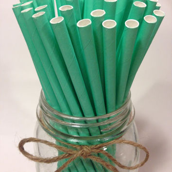 25 Solid Cool Mint Paper Straws // baby bridal shower decorations // candy dessert buffet table // wedding / First birthday / new year party