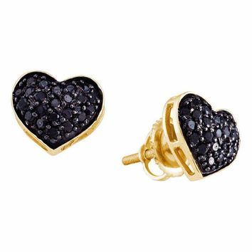 14k Yellow Gold Black Color Enhanced Diamond Women's Pave Cluster Screwback Stud Heart Earrings 3-8 Cttw - FREE Shipping (USA/CAN)