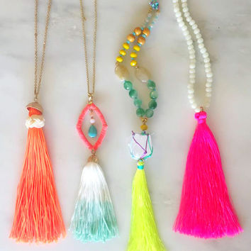 Neon Tassel Necklaces - Handcrafted