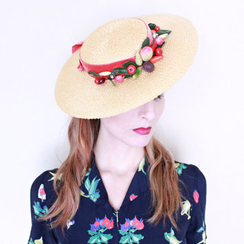 1940s Hat / VINTAGE / Fruit / Wide brim / Saucer / Straw / Velvet Ribbon / ADORABLE / Kawaii