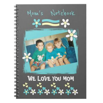 Mom gray turquoise photo personalized Notebook