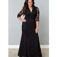 Plus Size Black Lace Screen Siren Dress