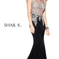 Floor Length Lae Embellished Illusion Dress by Shail K