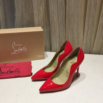 CL Christian Louboutin Women Trending Leather RED High Heel Shoes Best Quality