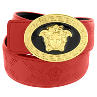 Medusa Face Buckle Red Leather Belt 46 Inch Gold Tone Greek Design