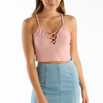Sus About Us Crop Tank in Mauve