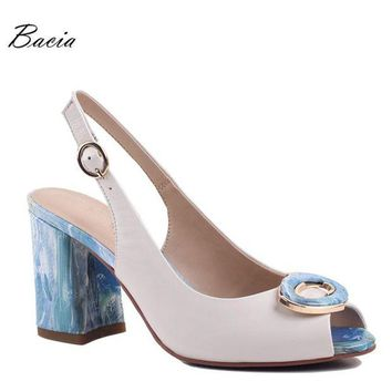 LMFIW1 Bacia Sheep Skin Sandals 2017 New High Thick Heels Pumps Genuine Leather Spring Summer