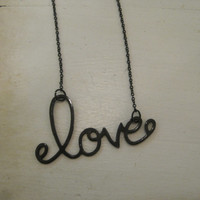 "Black ""Love"" Necklace - Black ""Love"" in Cursive Letters Necklace - Love - Word Jewelry - Valentines Day Jewelry"
