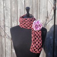 Chenille mauve neckwarmer pink rose, mauve scarflette with removable pink rose