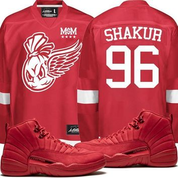 Air Jordan Retro 12 Gym Red Hockey Jersey - SHAKUR