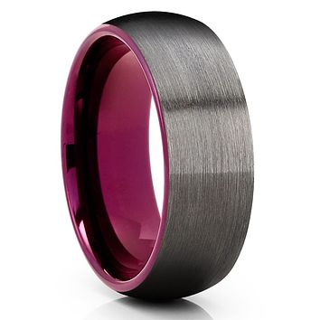 Purple Tungsten Wedding Band - Gunmetal Ring - Purple Tungsten Ring - Brush