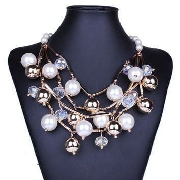 Large Pearl Statement Necklace
