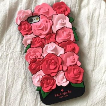 Kate Spade Trending Letter Print Rose mobile phone iPhone6 shell iphone 7puls silicone sleeve 7 soft shell 6s I