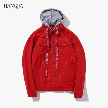 Solid Color Hooded Denim Jacket European and American High Street Trend Hole Ribbons Loose Washed Jackets Red / Black / Pink