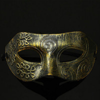 Men Burnished Mystery Antique Silver Gold Mardi Gras Masquerade Party Ball Mask