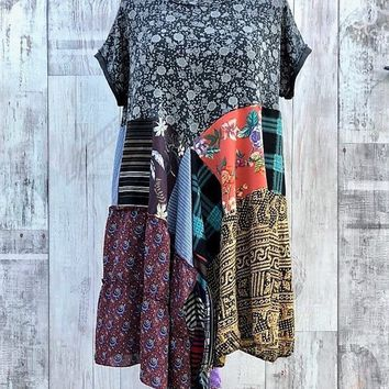 Asymmetrical Upcycled Tunic Dress,Eco Patchwork,Boho, Hippie, Vintage,Chic Prairie,Rostic Art,Junk Gypsy, Edgy Rock,Recycled Clothing L /XL
