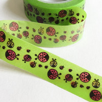 Washi Tape | Japan Adhesive Tape | Decorative Masking Sticky Tape | Scrapbooking Tools Favor Stationery | Green beetle 10m K15