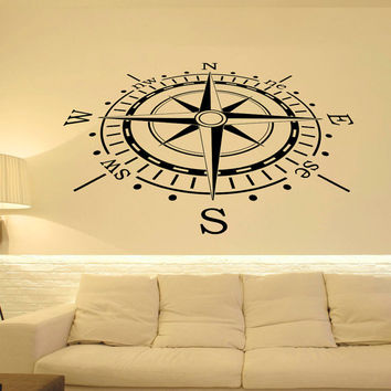 Wall Decal Nautical Compass Rose Wall Decor North South West East- Compass Wall Art- Compass Rose Wall Decal For Living Room Bedroom C079