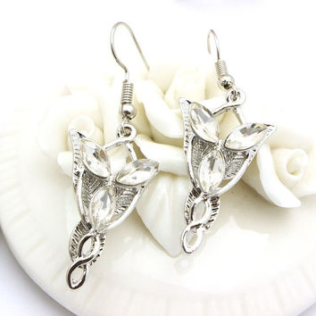 Earrings princess elves, Lord of the Rings, silvered with crystals