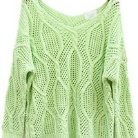 Twist Hollow-out Green Sweater  S002425