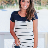 Navy Striped Short Sleeve Top