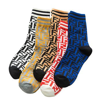 Fendi Women's socks letter F parallel bars sports socks fashionable personality cotton trendy socks