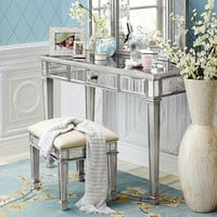 Hayworth Vanity Bench - Silver