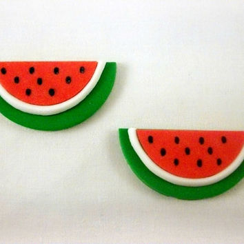 24 Watermelon Cupcake Fondant Toppers, Watermelon Party Toppers, Watermelon Birthday Decoration, Summer Cupcake Toppers, Summer Baby Shower