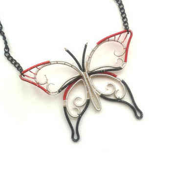 Butterfly Necklace, Wire Wrapped Red Black Silver Butterfly Pendant, Wire Weaved Insect Jewelry, Handmade Woven Jewellery, Animal Pendant
