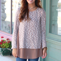 Layered Chiffon Contrasting Knit Blouse {Mocha Mix}