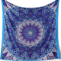 BLUE FABRIC MANDALA Star Psychedelic Wall Hanging Bohemian Hippie Wall Tapestry Bedspread Throw Boho Mandala Bed Bedspread Home Decorative