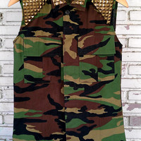 Vintage Vest Cut Off Camouflage Army Jacket With Studded / DIY Studded Camo Vest Jacket  Size: S/M/L Regular
