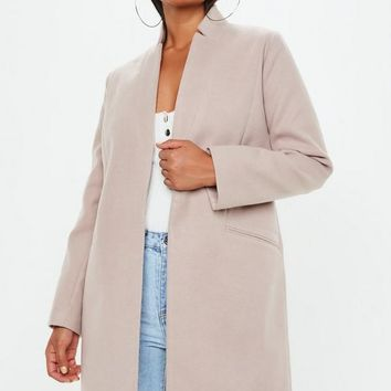 Missguided - Nude inverted collar formal coat