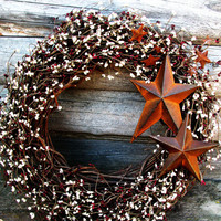 PRIMITIVE CRANBERRY VANILLA Rusty Star Wreath-Large Berry Wreath-Holiday Door Wreath-Grapevine Wreath Scented Spiced Cran-Apple-Choose Scent