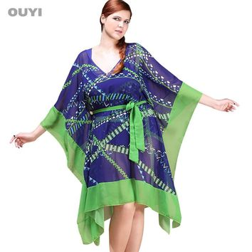Sexy Chiffon Beach Cover Up Dress Gathers Waist Transparent Loose Women's Beach Wear Vintage Sunscreen Swimming Pool Cover-ups