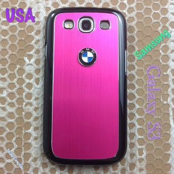 BMW Samsung Galaxy S3 Case BMW 3D Metal Car Logo with Aluminum Cover for S3 / i9300 - F1  Pink