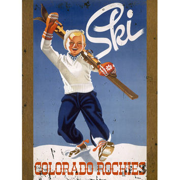 Personalized Ski Colorado Rockies Wood Sign